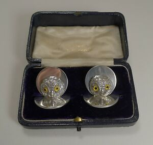 Pair Antique English Sampson Mordan Sterling Silver Menu Holders Owls