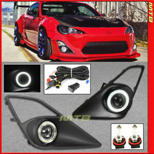 Projector Fog Lights Led Halo Ring For 13 16 Scion Fr S Black Covers Clear Lens