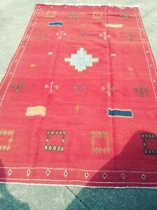 Wool Rug 5ftx9ft Thick Hand Woven Wool Area Rug Very Old In Great Condition