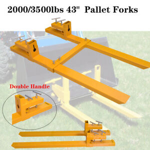 2000lb 3500lb Clamp On Pallet Forks Loader Bucket Skidsteer Tractor Chain