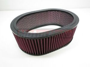 12 x4 Oval Washable Reusable Air Cleaner Element Filter Chevy Ford Mopar Hotrod