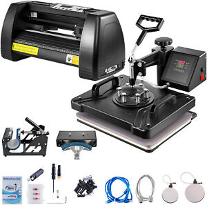 5in1 Heat Press 15 x12 14 Vinyl Cutter Plotter T shirt Sticker Print