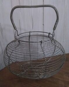 Vintage Primitive French Country Metal Wire Egg Gathering Basket