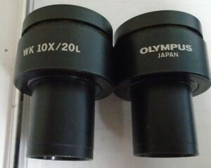Olympus Microscope Wk 10x 20l Lot Of Two 2 Eyepiece Lenses