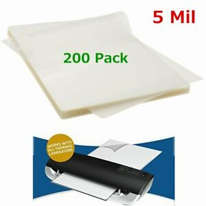 5 Mil 200 Pack Letter Size Thermal Laminator Laminating Pouches 9 X 11 5 Sheet