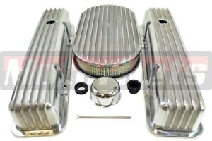 Sbc Chevy Nostalgic Aluminum Fin Tall Valve Cover 15 Air Cleaner Dress up Kit