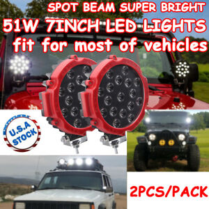 2x 7 Inch 51w Round Off Road Led Work Lights Fit Jeep Truck Bumper Boat 4wd Red