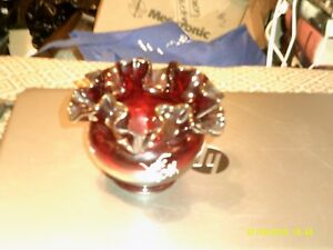 Ruby Red Art Glass Hand Painted Flowers Artist Signed Perfect