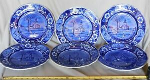 Rare Antique Set 6 Staffordshire Dinner Plates Clews Pittsfield Mass 1825 Blue