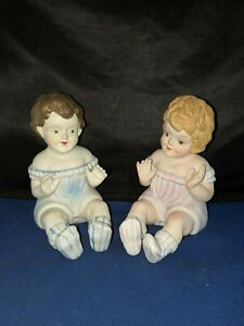 Piano Baby Doll Figurine Bisque Ceramic Girl Pair Approx 5 5 H Vintage