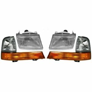 Fit 1998 1999 2000 Ford Ranger Headlights Corner Lights Right Left Pair