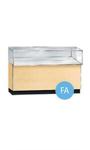 Metal Framed Jewelry Display Showcase In Maple Finish 38h X 20d X 48l Inches
