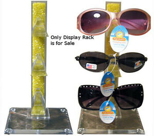 Countertop Sunglass Display Rack In Yellow Acrylic Holds 3 Pairs