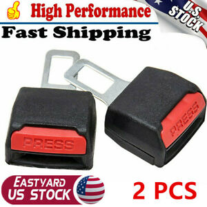 2x Car Seat Belt Clip Extender Support Buckle Safety Alarm Stopper Canceler Us