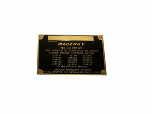 Mercury Cars 1946 1950s Patent Data Plate Acid Etched In Brass