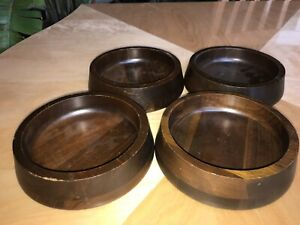 Vermillion Real Walnut Wooden Salad Bowls Set Of 4 Mid Century Modern Wood Mcm