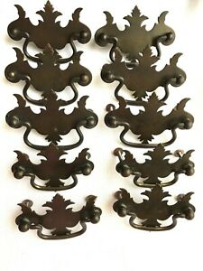 Vintage Metal Flat Chippendale Batwing Drawer Pulls Lot Of 10 Large And Small