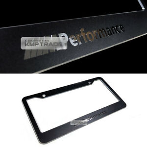 License Plate Aluminum Metal Black Frame Chrome M Performance Logo 1p For Bmw
