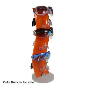 Rotating Sunglass Display Rack In Orange Acrylic 18h X 6w Inches