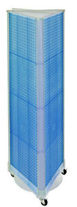 Styrene 3 Sided Pegboard Tower Display In Blue 16w X 60h Inch With Wheeled Base