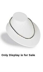 Necklace Busts Display In White Faux Leather 6 3 4w X 8l X 3 1 2h Inches
