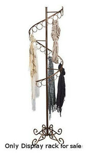 Boutique Spiral Scarf Display Rack In Cobblestone Finish Holds 27 Rings