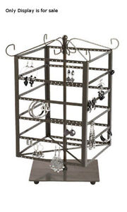 Raw Steel Large Tiered Square Rotating Jewelry Display 14 1 8 Inch H