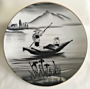 Vntg Plate Hand Painted Porcelain Black And White Japanese Boating Scene 6 D