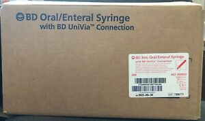 Bd 305853 3ml Univia Oral enteral Clear W Amber Plunger Syringes New