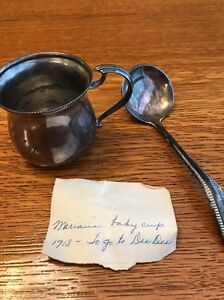 Antique Bristol Quadruple Silver Plate Baby Cup With Spoon And Note Christening