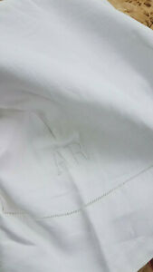 Antique Vtg 1910 Pure Linen Bed Sheet Monogrammed A R 89x108 Farmhouse Chic