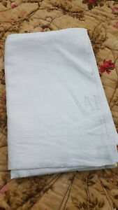 Antique Vtg 1910 Pure Linen Bed Sheet Monogrammed A R 70x107 Farmhouse Country