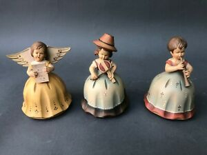 Three Reuge Anri Hand Carved Wood Music Boxes Angels Girls W Flutes Etc