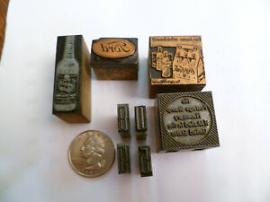 Antique Letterpress Printing Blocks Ford Logo Coca cola Kentucky Tavern Whiskey