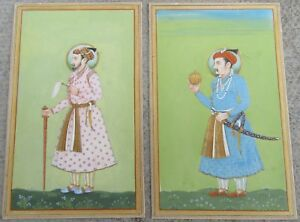 2 Mughal Emperors Antique Indian Miniature Paintings Jaipur Late 19th Century