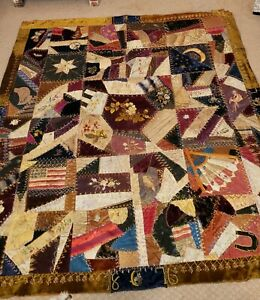Outstanding Antique Crazy Quilt 1876 Beautiful Vibrant