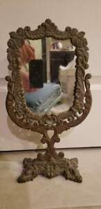 Victorian Vanity Mirror Brass Frame 9x4x16 5 Antique Vintage Table Top Makeup