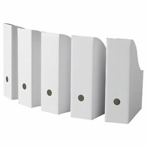 Ikea White Magazine File Holders Flyt Pack Of 50 Corrugated Paper Organizer