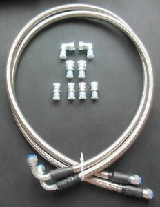 6an Ss Braided Transmission Cooler Hoses Fittings Th350 700r4 Th400 52 Length