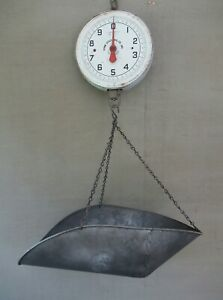 Antique Hanging Scale Penn Scale Mfg Co 20 Pound Clean Face Tin Tray Vintage