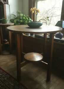Antique Mission Oak Arts And Crafts Stickley Lamp Side End Table