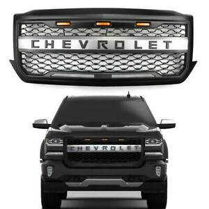 For 2016 2018 Chevy Silverado 1500 Amber Led Front Bumper Grille Grill W logo