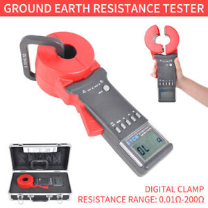 Etcr2100a Digital Clamp On Ground Earth Resistance Tester Meter 0 01 200 In Us