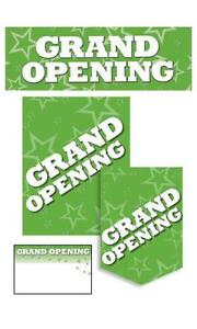 Grand Opening Sign Kit In Green Single Sided Glossy Paper 61 Pieces