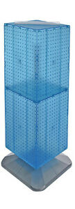 Blue 4 sided Interlocking Pegboard Display On Square Weighted Base 14w X 40h