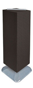 Black 4 sided Pegboard Tower Display 14w X 40h Inches On Revolving Base