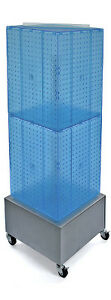 Blue 4 sided Pegboard Tower Display 14w X 40h Inches On Metal Wheeled Base