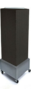 Black 4 sided Pegboard Tower Display 14w X 40h Inches On Metal Wheeled Base