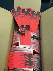 Sold Tags Red W slit 13pt Tag Stock Box Of 1 000 2 3 8 X 4 3 4