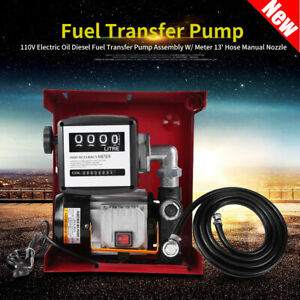 Electric Oil Diesel Fuel Transfer Pump Assembly W Meter 13 Hose Manual Nozzle